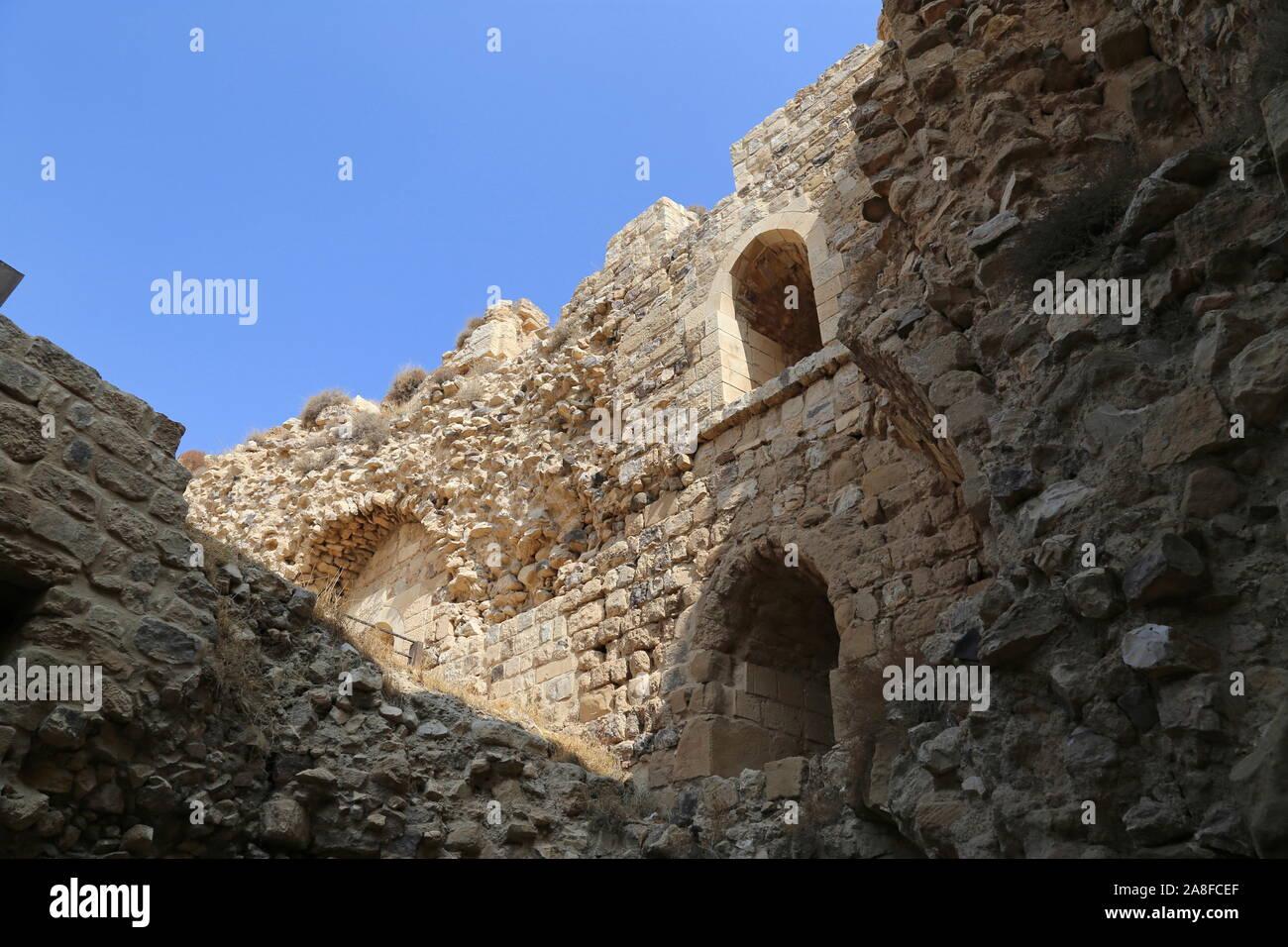 North East Tower, Karak Castle, Al Karak, Karak Governorate, Jordan, Middle East Stock Photo