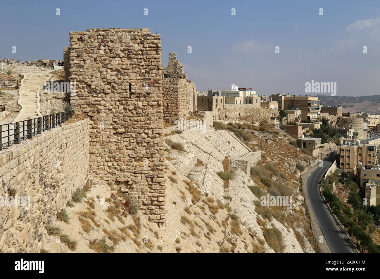 East Wall, Karak Castle, Al Karak, Karak Governorate, Jordan, Middle East Stock Photo