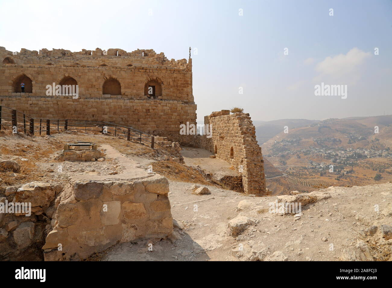 Mamluk Keep and West Wall, Karak Castle, Al Karak, Karak Governorate, Jordan, Middle East Stock Photo