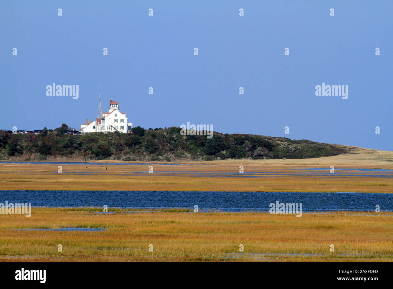 View overlooking Nauset Marsh and Coast Guard Station from Fort Hill in Eastham, Massachusetts Stock Photo