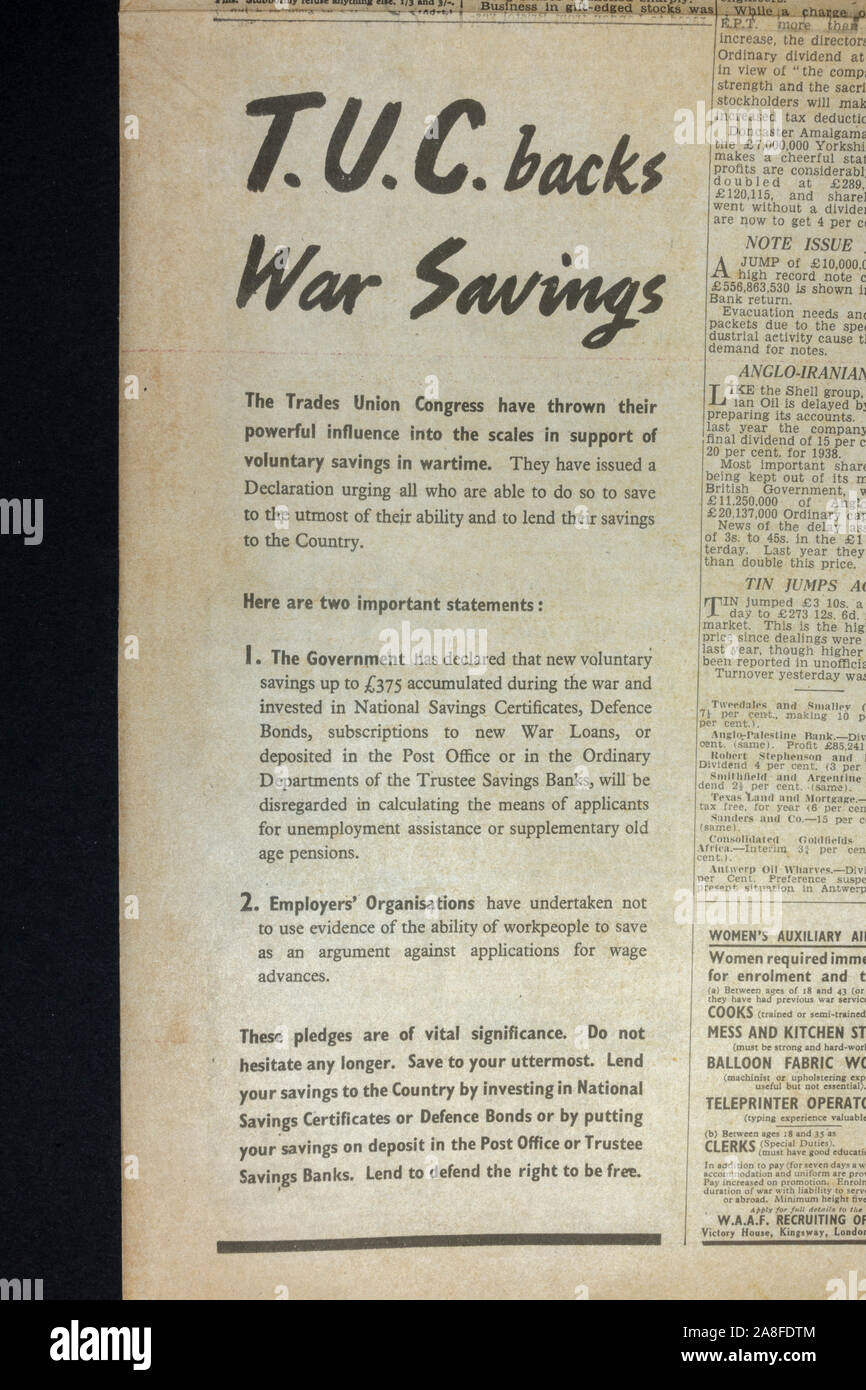 Advert from the TUC encouraging War Savings (bonds etc) in the Daily Express newspaper (replica) on 31st May 1940 during the Dunkirk evacuation. Stock Photo