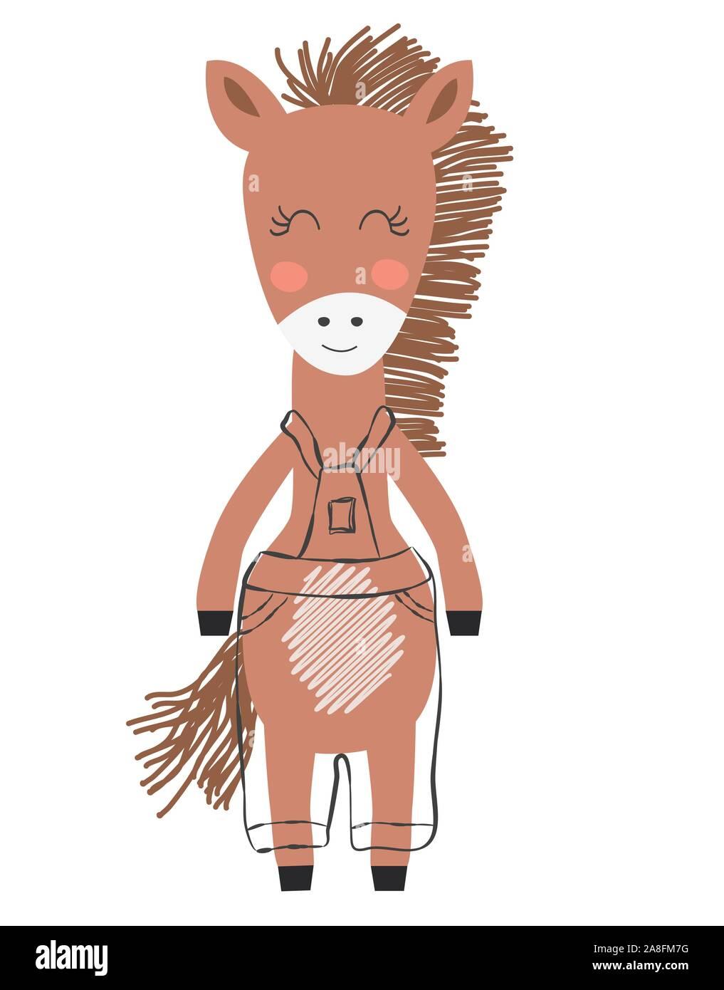 Little Cute Horse Horse Face Doodle Cartoon Kawaii Animal Illustration Scandinavian Print Or Poster Design Stock Vector Image Art Alamy