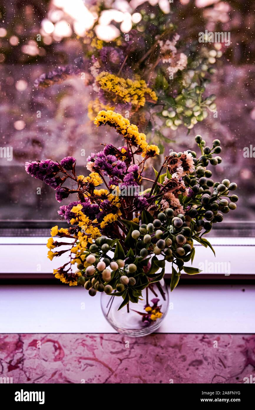 Dried Flower Autumn Bouquet In Vintage Glass Vase On Windowsill Rustic Style Purple Yellow And Lilac Still Life Stock Photo Alamy