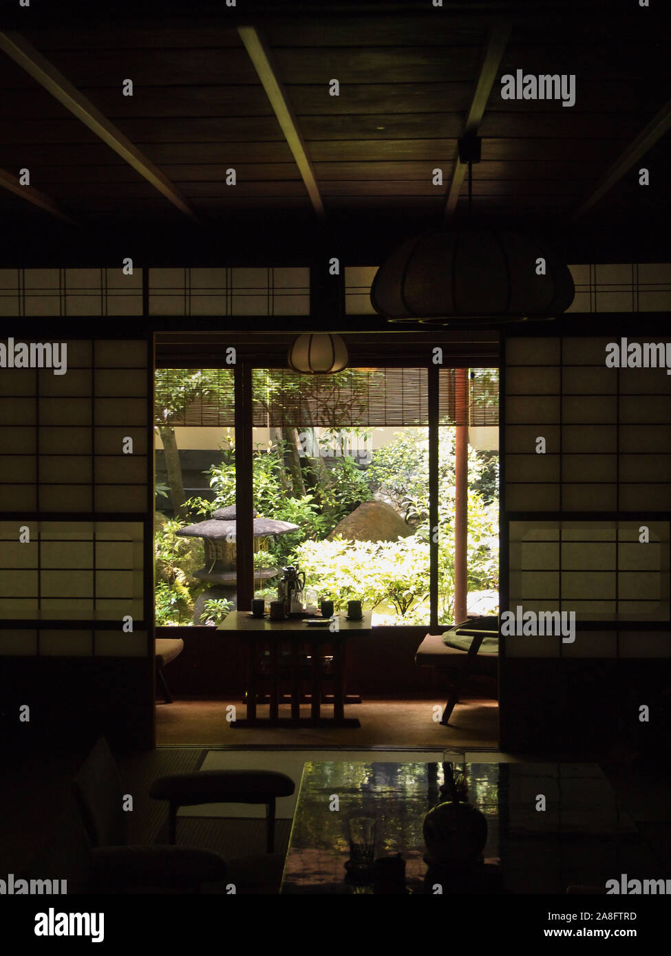 Interior of a Japanese room in a traditional Kyoto hotel Stock Photo