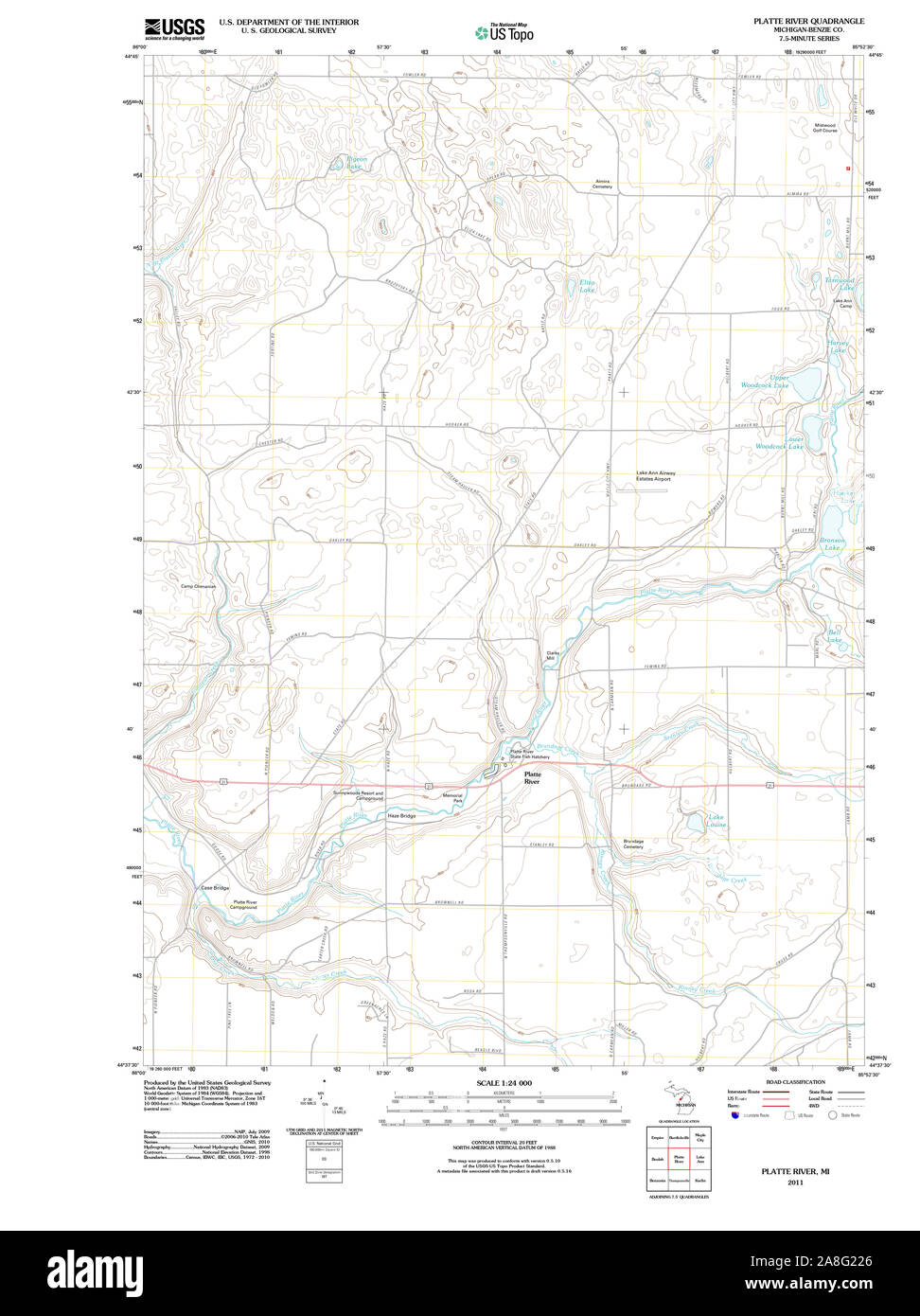 USGS TOPO Map Michigan MI Platte River 20110927 TM Stock ...