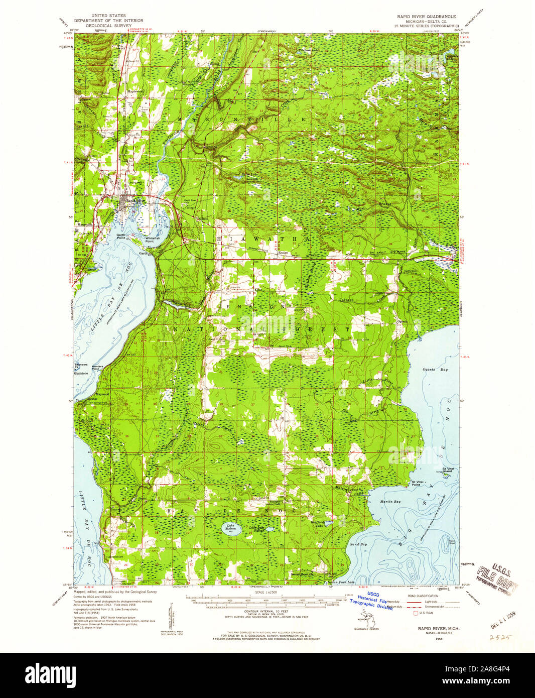 USGS TOPO Map Michigan MI Rapid River 278435 1958 62500 ...