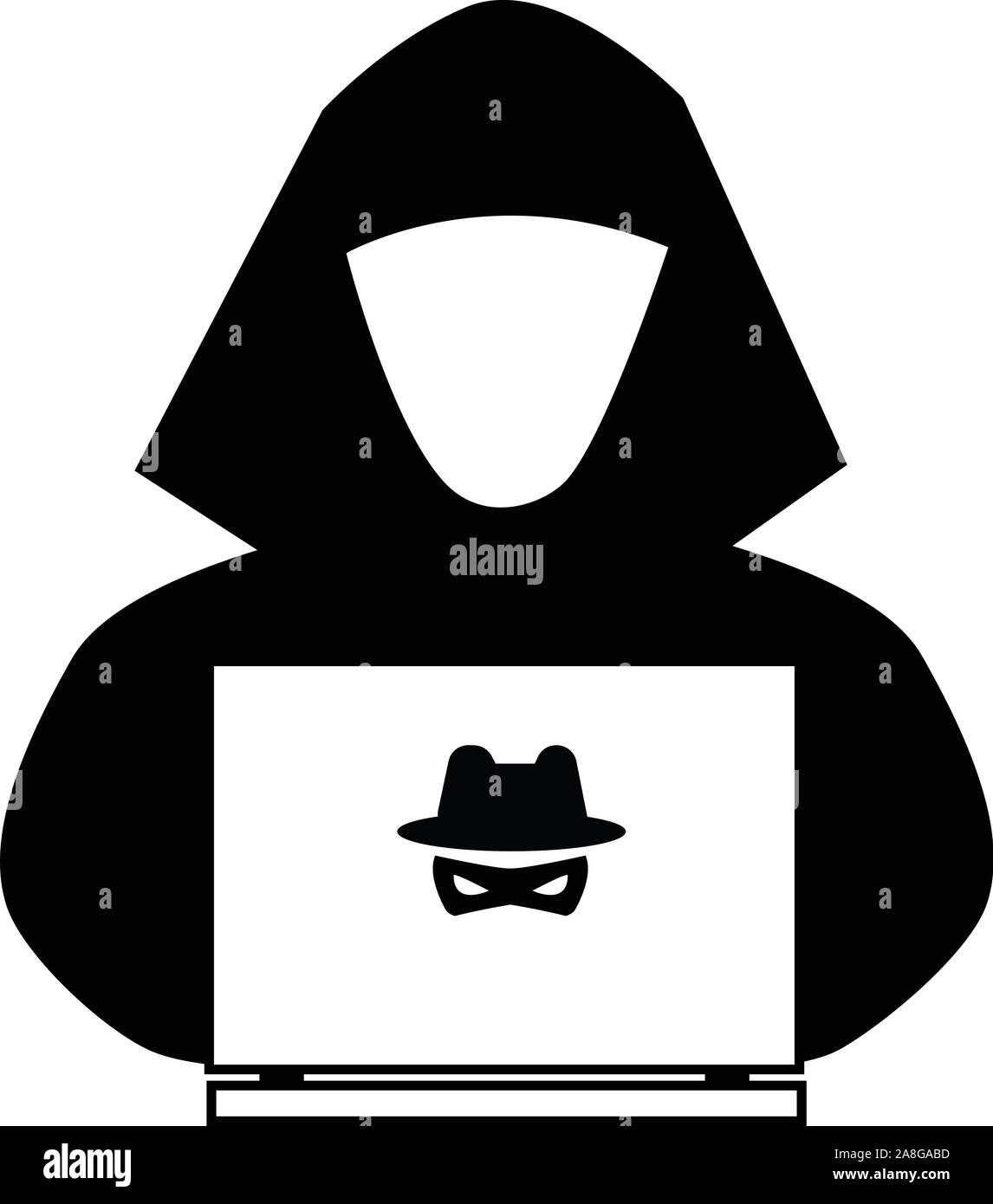 Hacker Icon On White Background Flat Style Anonymous Spy Icon For Your Web Site Design Logo App Ui Spy Agent Searching On Laptop Cyber Crime Si Stock Vector Image Art