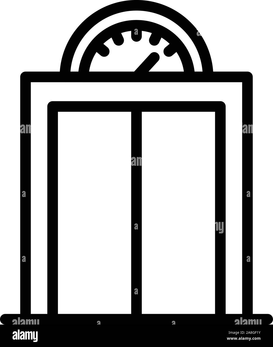 Elevator with analogue pitch icon, outline style Stock Vector