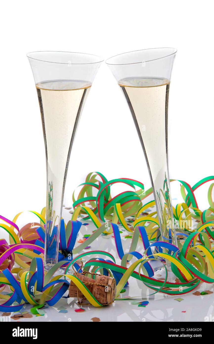 Silvesterfeier, Happy New Year, Frohes Neues Jahr, Champagner Gläser bei einer Feier, Geburtstag, Stock Photo