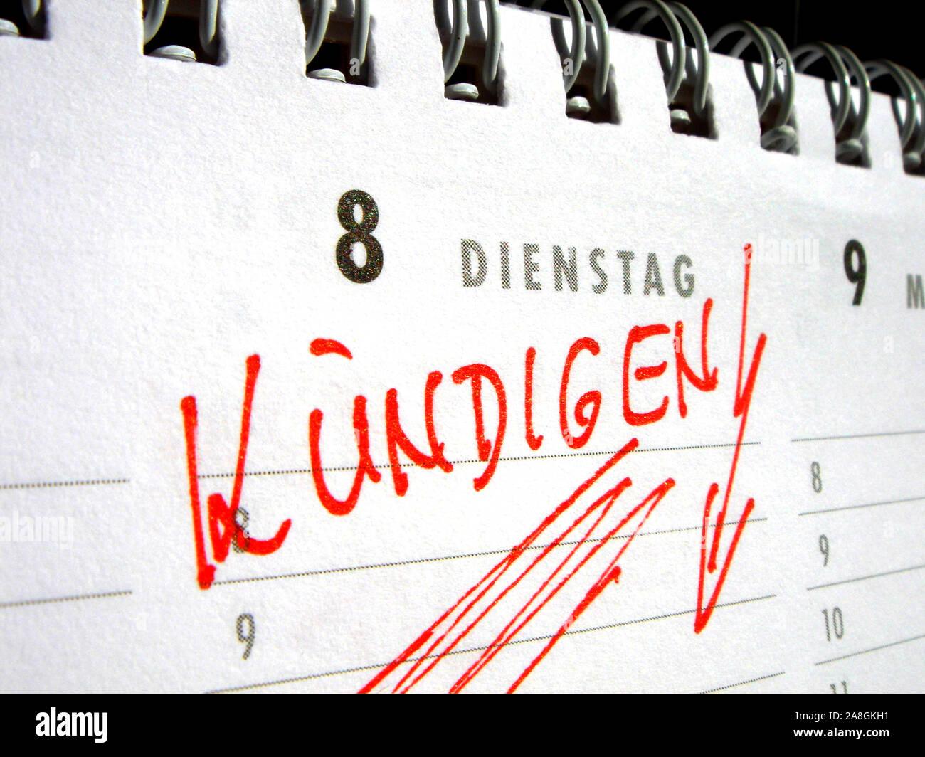 Eintrag im Kalender, Kündigen, Stock Photo