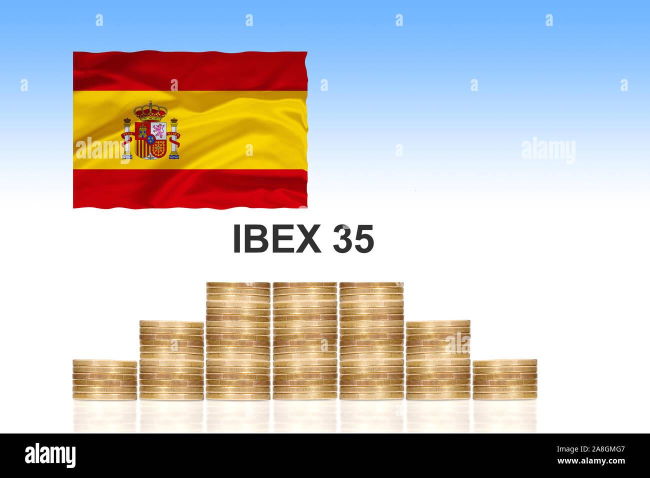 IBEX 35, Aktieninder der 35 grössten spanischen Unternehmen, Kursindex, Börse, Madrid, Spanien, Kapital, Marktkapitalisierung, Stock Photo