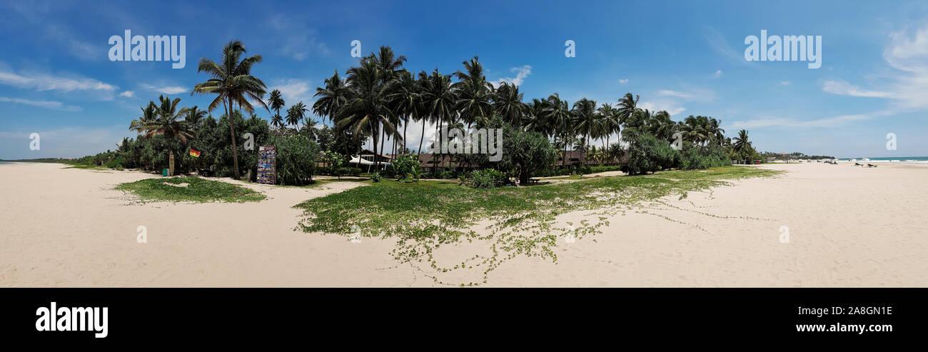 Panorama Bentota Beach in Sri Lanka, Asia. Dream beaches of the world. Stock Photo
