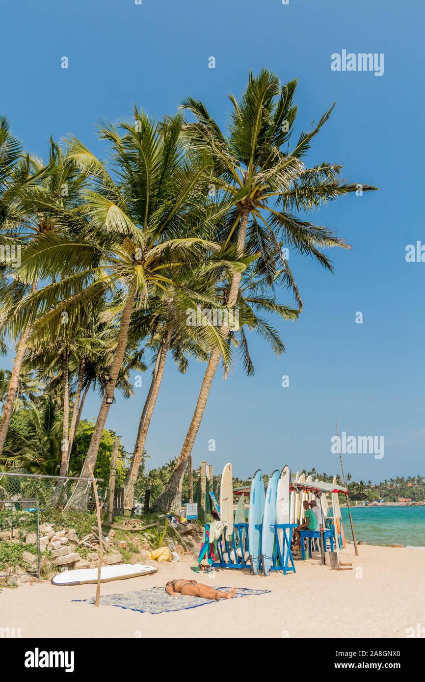 Surfboards and water sport at the Mirissa Beach, Sri Lanka Stock Photo