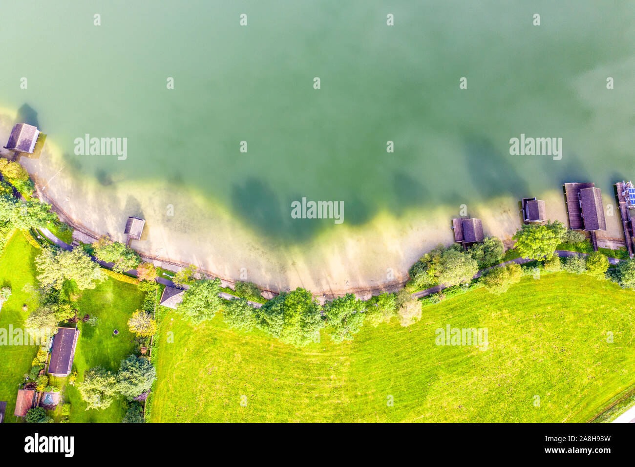 Aerial landscape from the drone. lake shore. Schliersee Germany Bavaria Stock Photo
