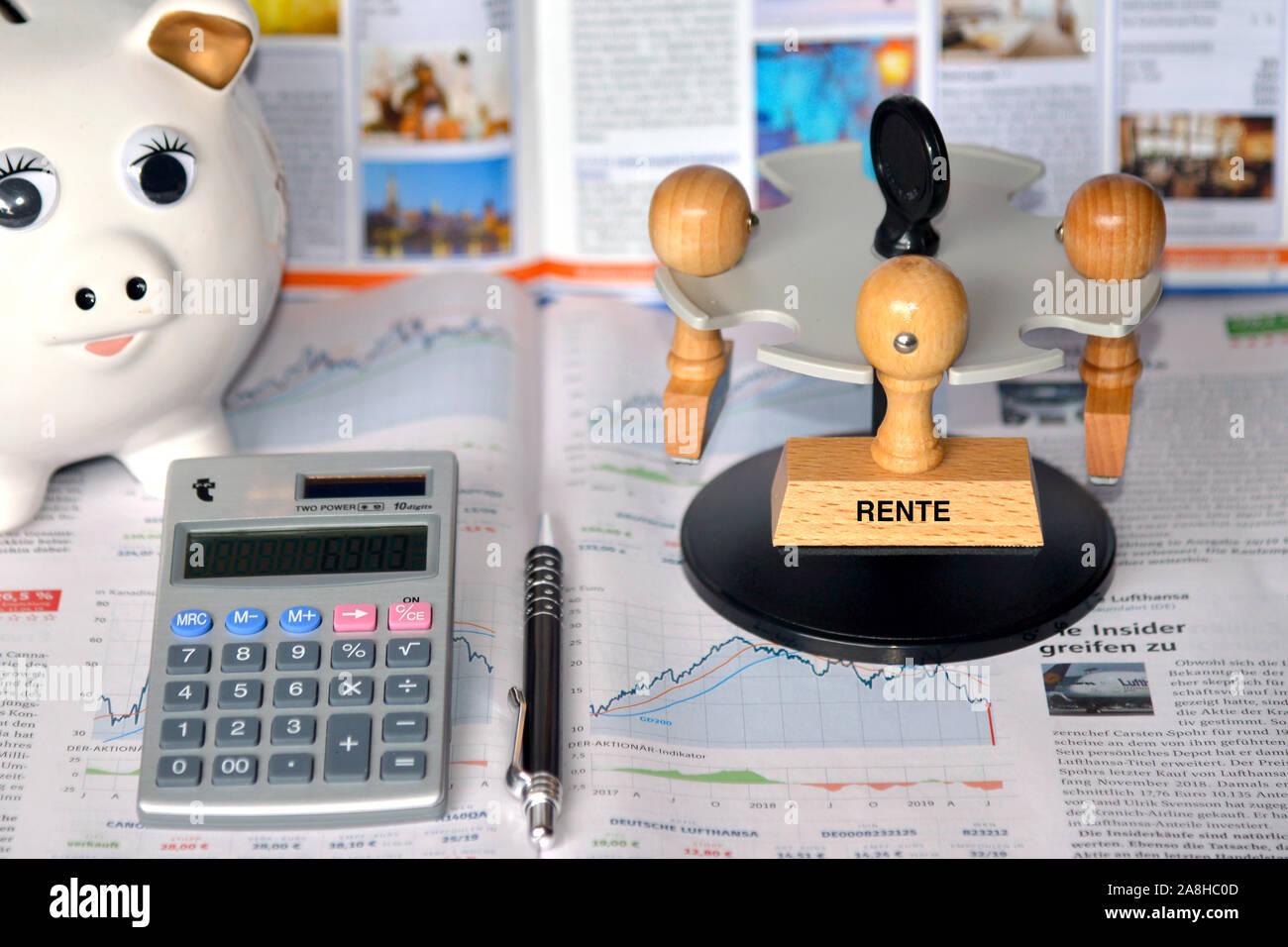 Stempel, Holzstempel, Aufschrift, Rente Stock Photo