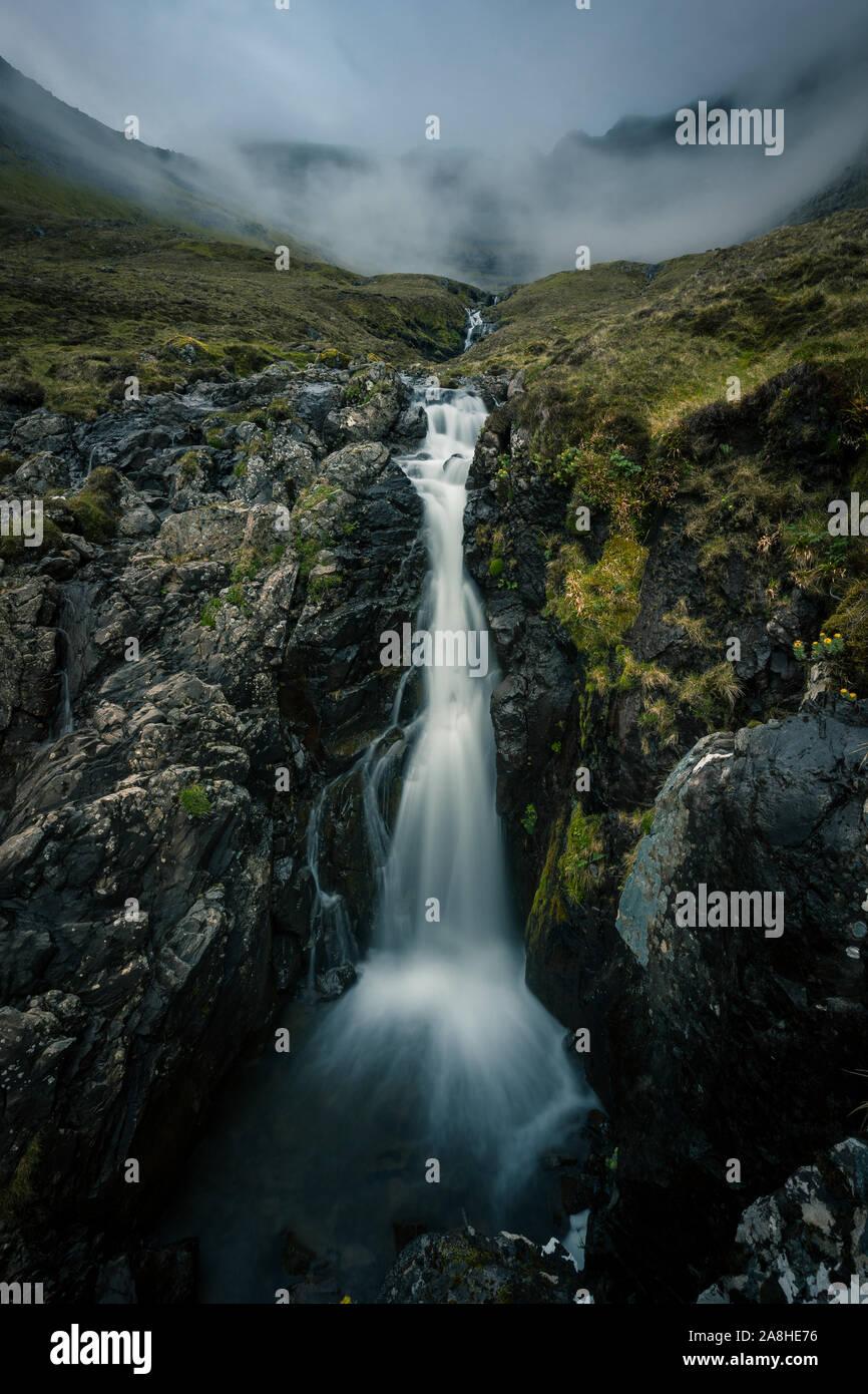 Wonderful waterfall at the Faroe Islands... Stock Photo
