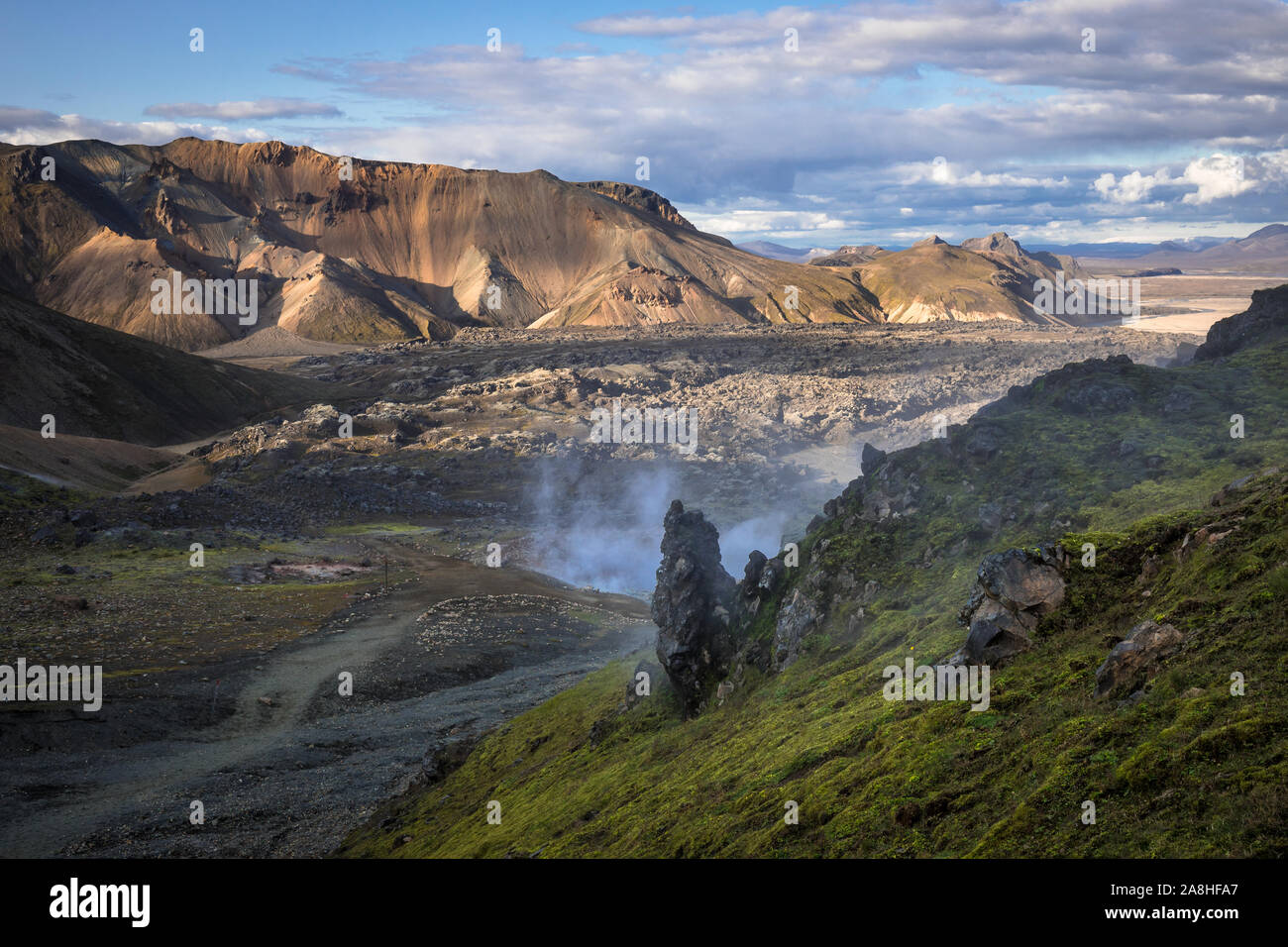 Smoke is rising out of the ground of this geothermal area in Iceland Stock Photo