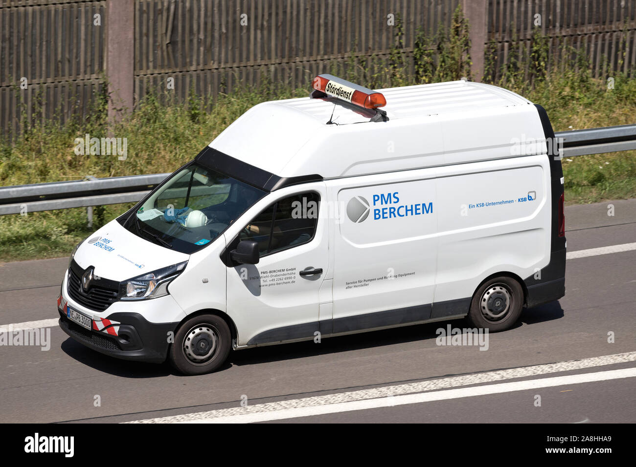 PMS Berchem Renault van on motorway. Stock Photo