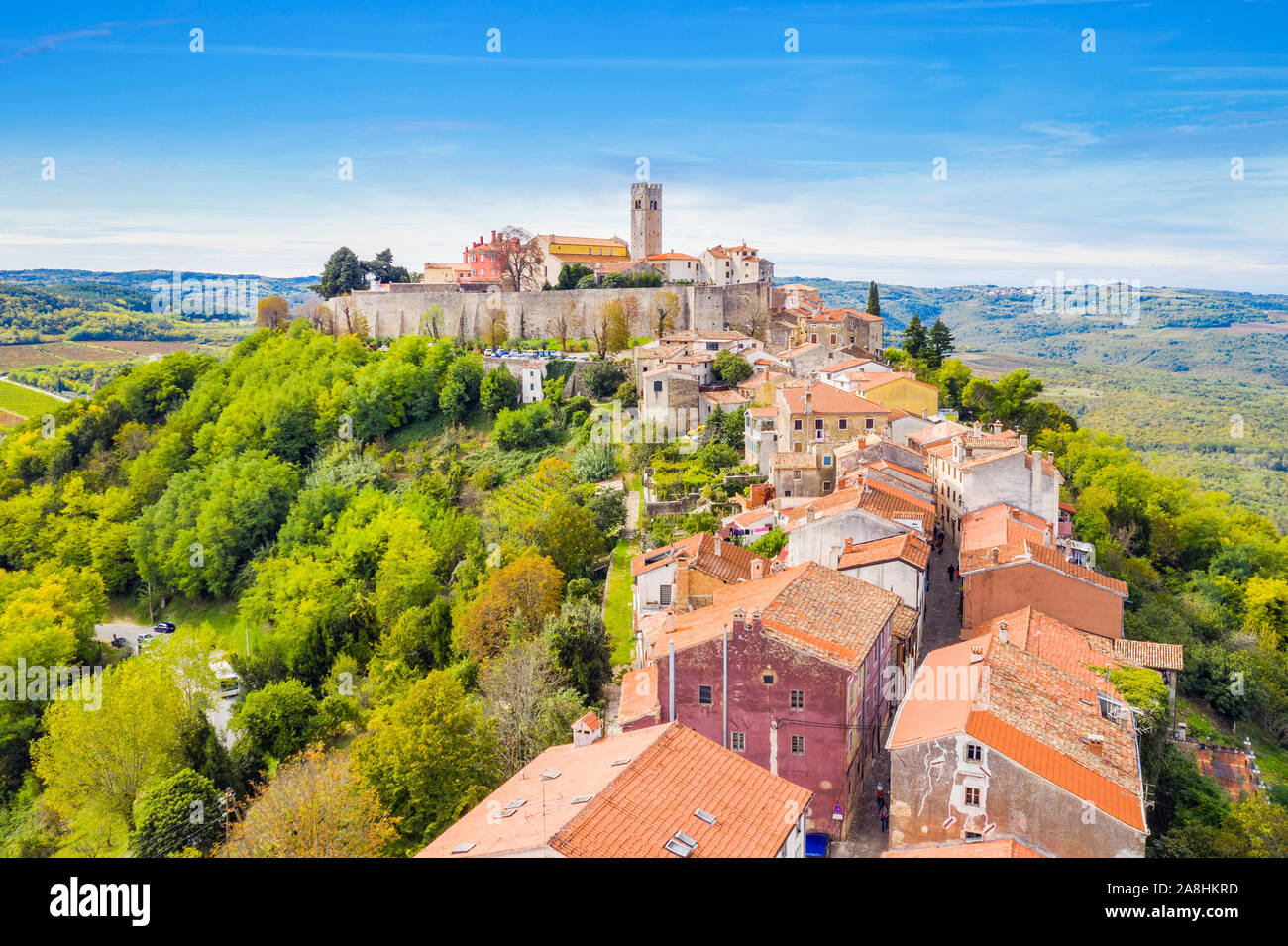 Croatia, Istria, aerial view of the old town of Motovun Stock Photo