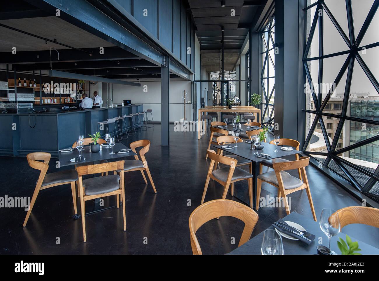 High level restaurant or cafe with amazing views in the Zeitz MOCCA museum of Contemporary Art Africa in Cape Town, South Africa Stock Photo