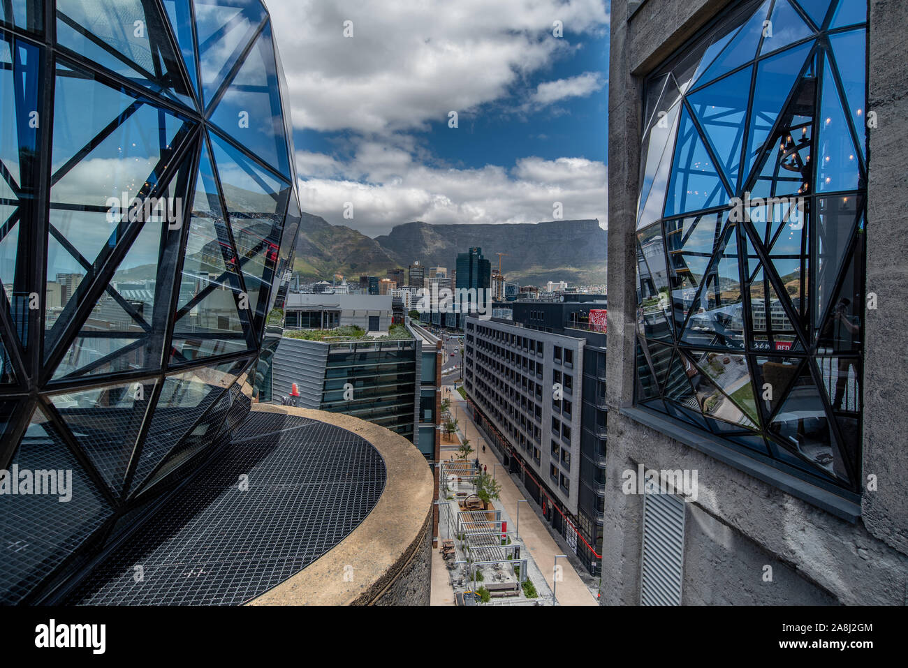 View of the street with Table Mountain in the background from the top of Zeitz Museum in Cape Town, South Africa Stock Photo