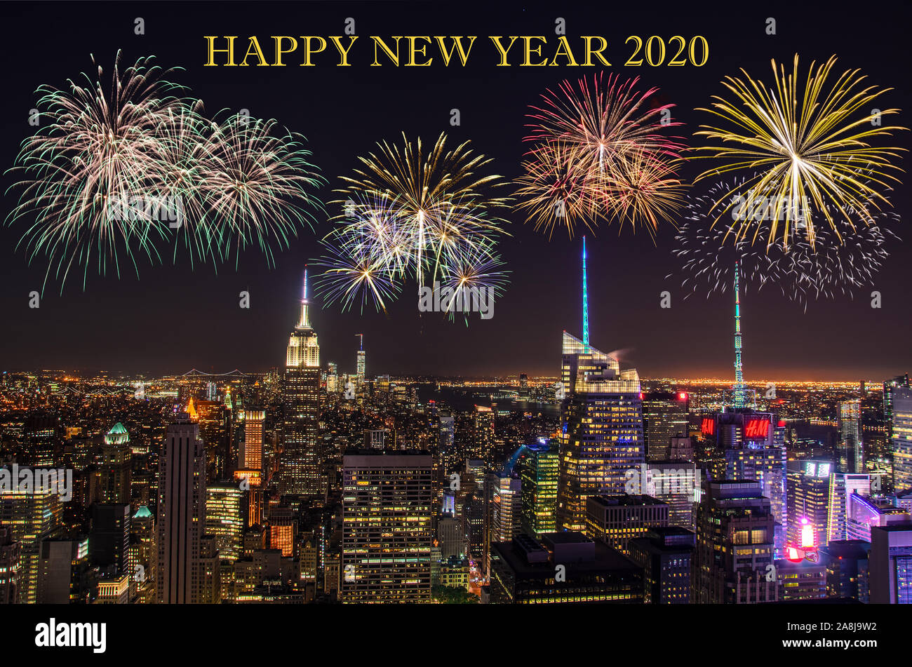 New year's eve and fireworks over New york city Stock Photo