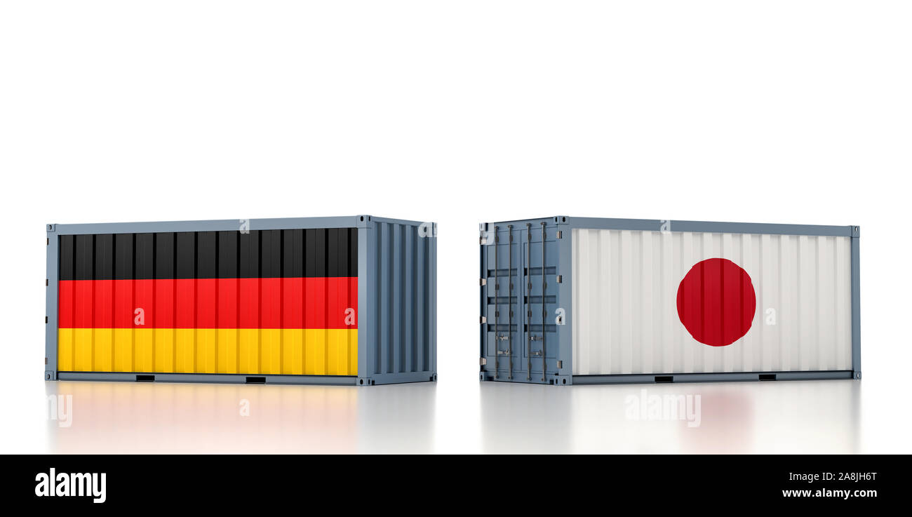 Two freight container with Germany and Japan flag. 3D Rendering Stock Photo