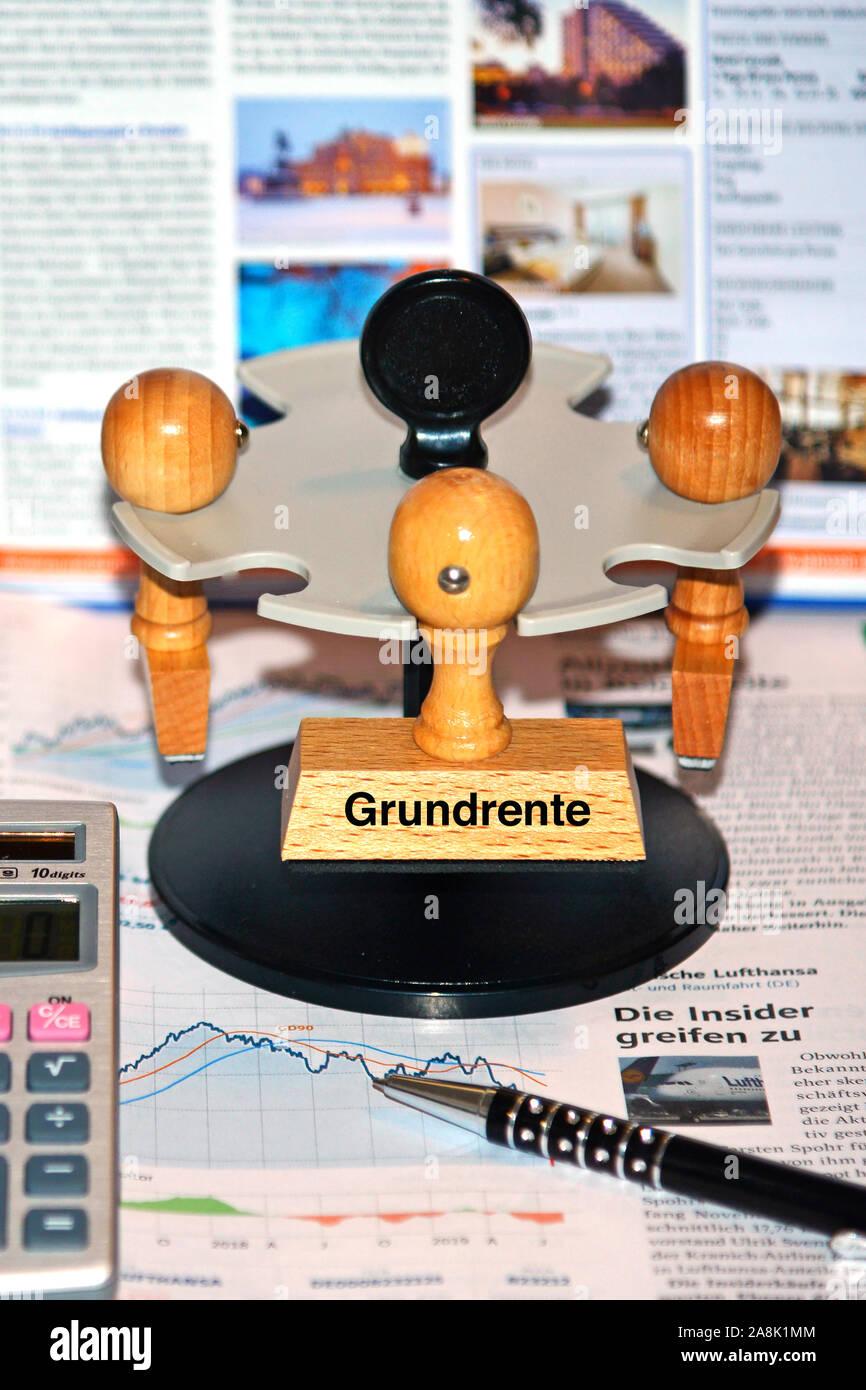 Stempel mit der Aufschrift: Grundrente, Stock Photo