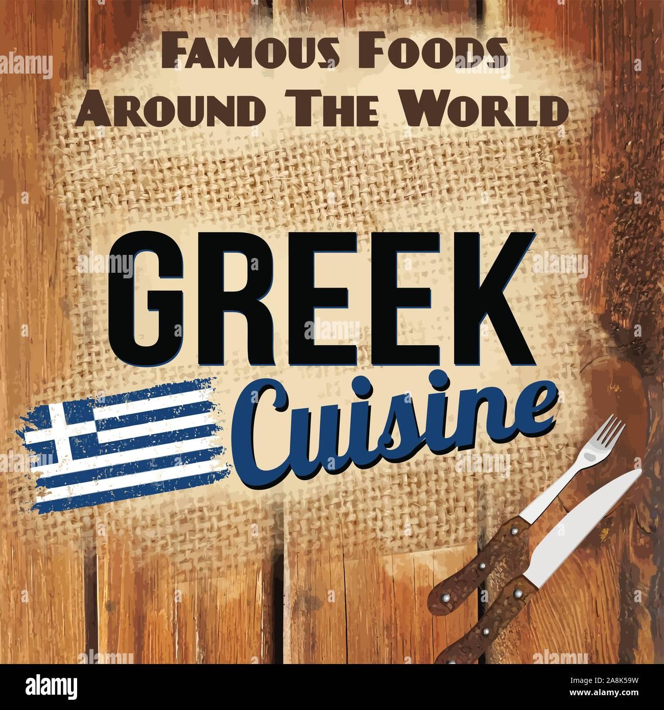 Famous Foods Around The World Vintage Card Greek Cuisine Retro
