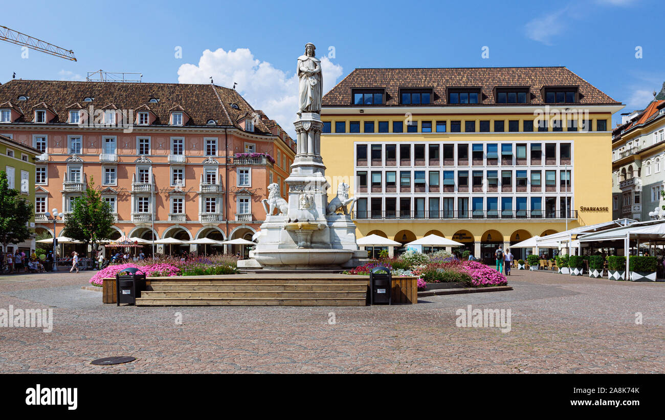 BOLZANO, ITALY - JULY 20, 2019 -  Considered the living room of Bolzano, Piazza Walther von der Vogelweide is the main square of the city Stock Photo