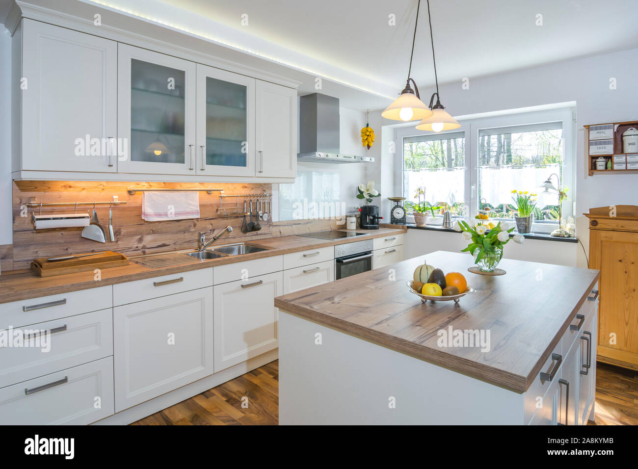 Nice Country Style Kitchen In Modern House Stock Photo Alamy
