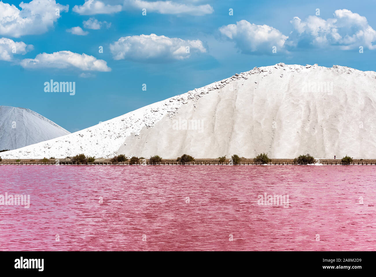 Aigues-Mortes, Salins du Midi, panorama with salt marshes and pink lakes Stock Photo