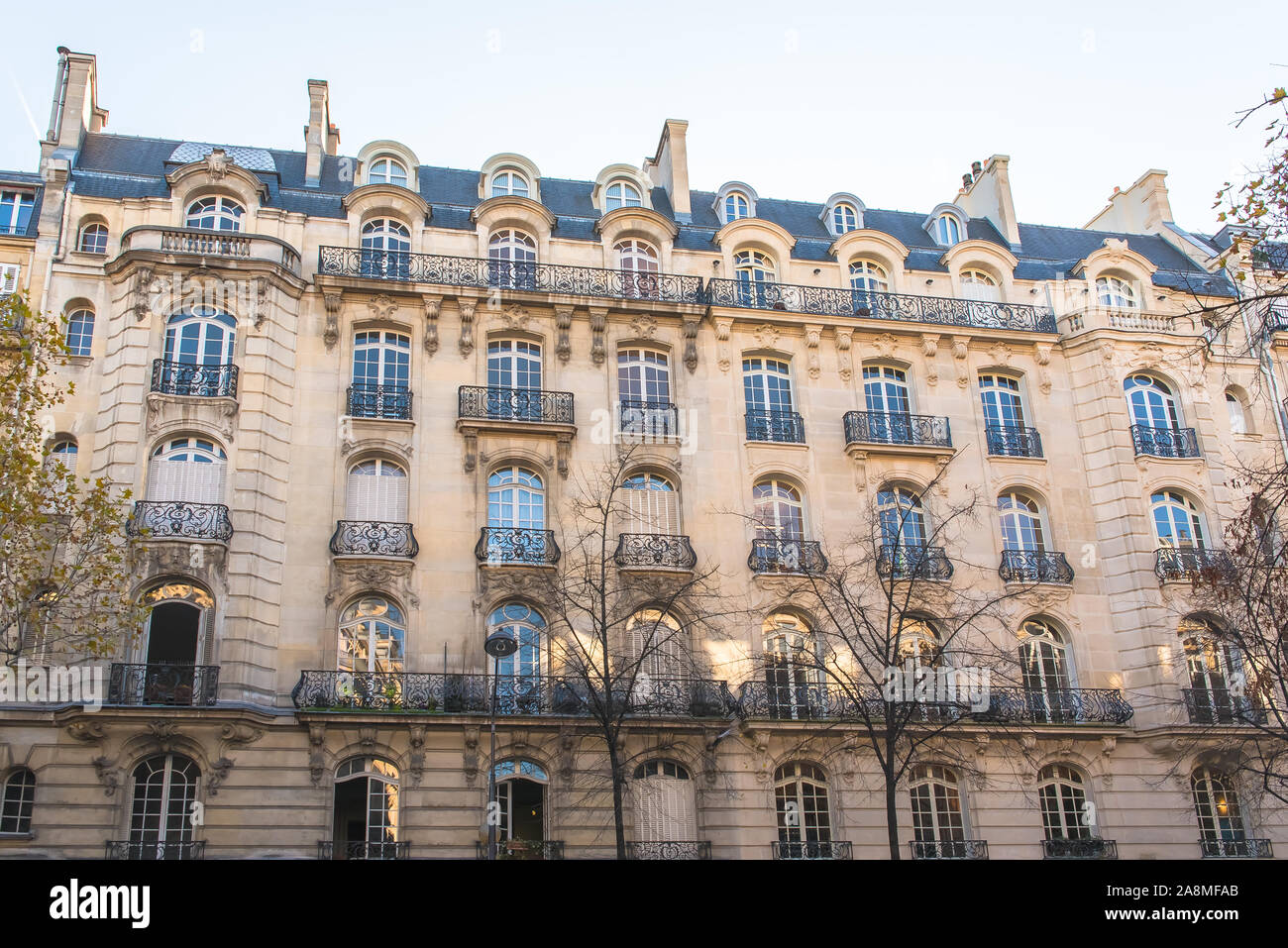 Paris, attractive Haussmann buildings in a chic area of the capital, panorama Stock Photo