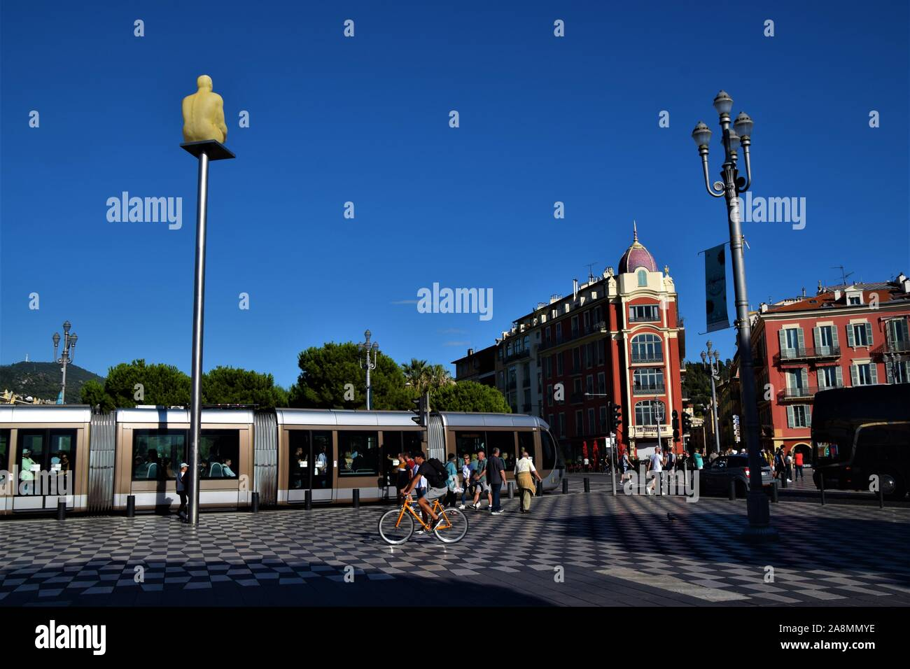 Place Massena Nice France with tram and people daytime Stock Photo