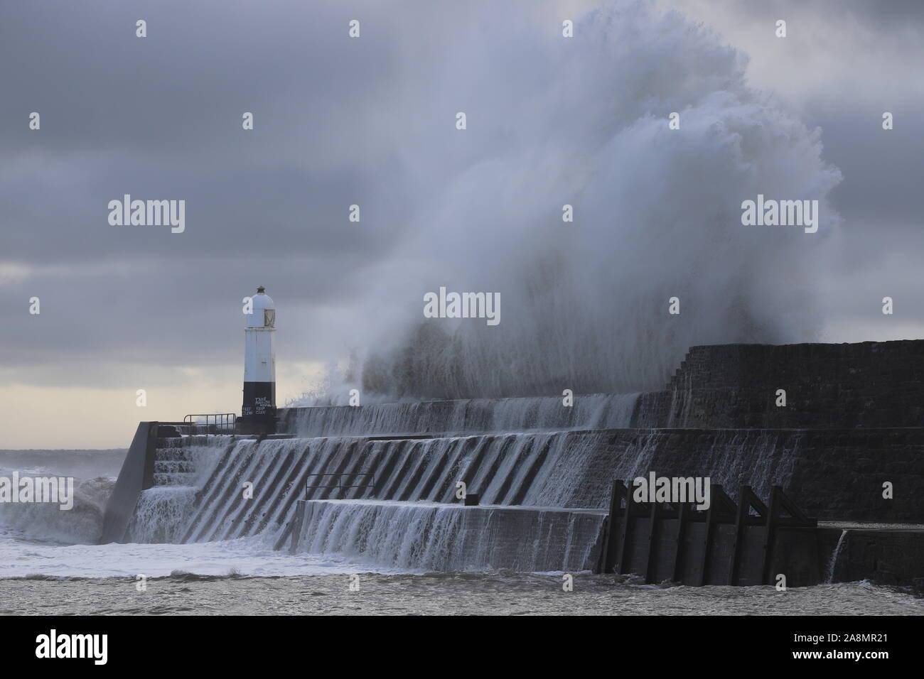 Porthcawl Sea Front Super Waves Stock Photo
