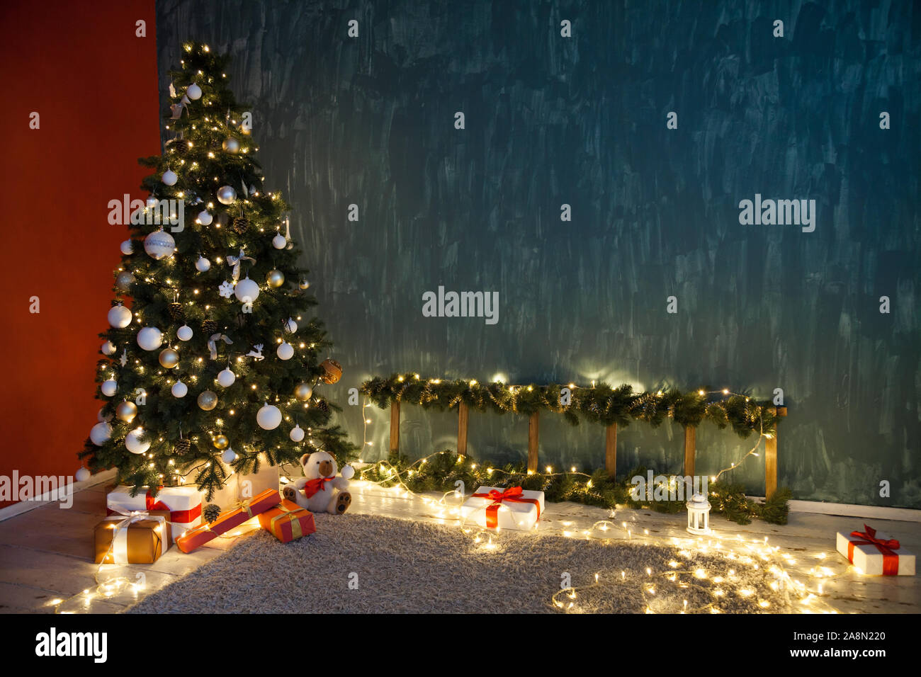 christmas tree lights garlands new year decoration gifts as background 2A8N220