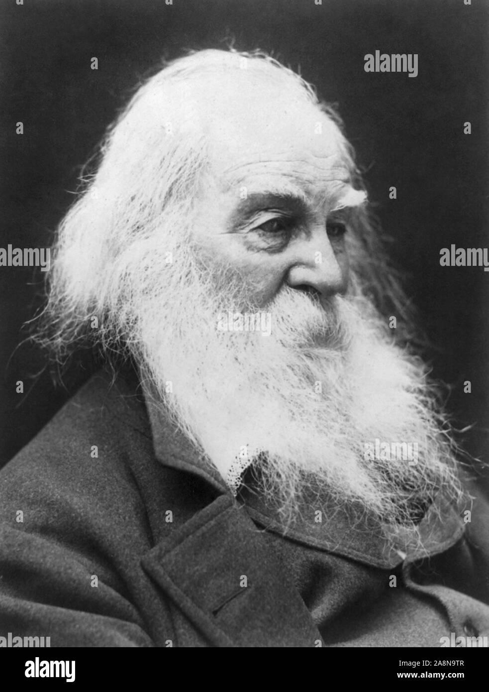 Vintage portrait photo of American poet, essayist and journalist Walt Whitman (1819 – 1892). Photo circa 1887 by G C Cox. Stock Photo