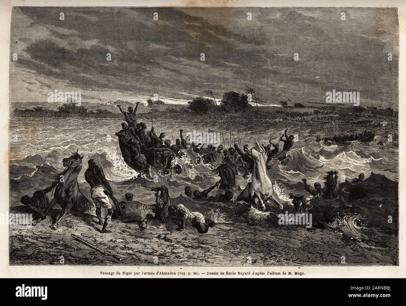 Le transport de l'armee du roi Ahmadou, sur le fleuve Niger pendant la saison des pluies lui cause de nombreux naufrages et beaucoup de pertes de chev Stock Photo