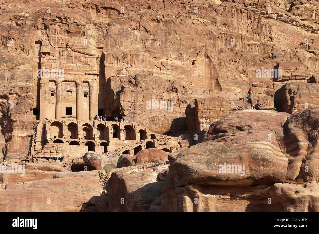Urn Tomb (Qabr Al Jarrah), Royal Tombs, Treasury Viewpoint Trail, Petra, Wadi Musa, Ma'an Governorate, Jordan, Middle East Stock Photo