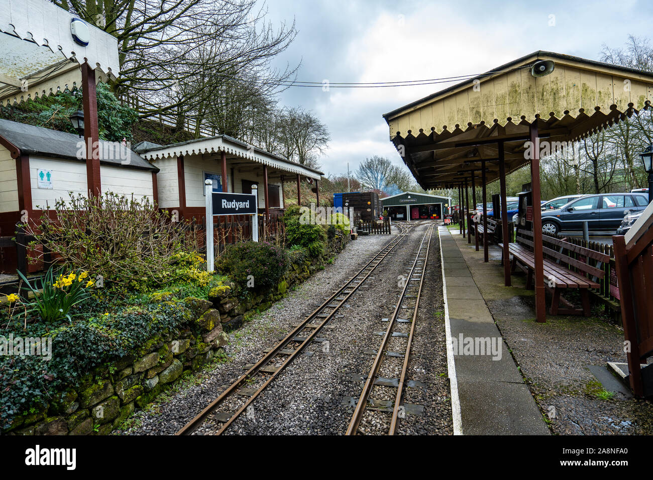 The famous miniature ride along railway museum, popular with families and children, One of Staffordshire's favourite tourist attractions Stock Photo