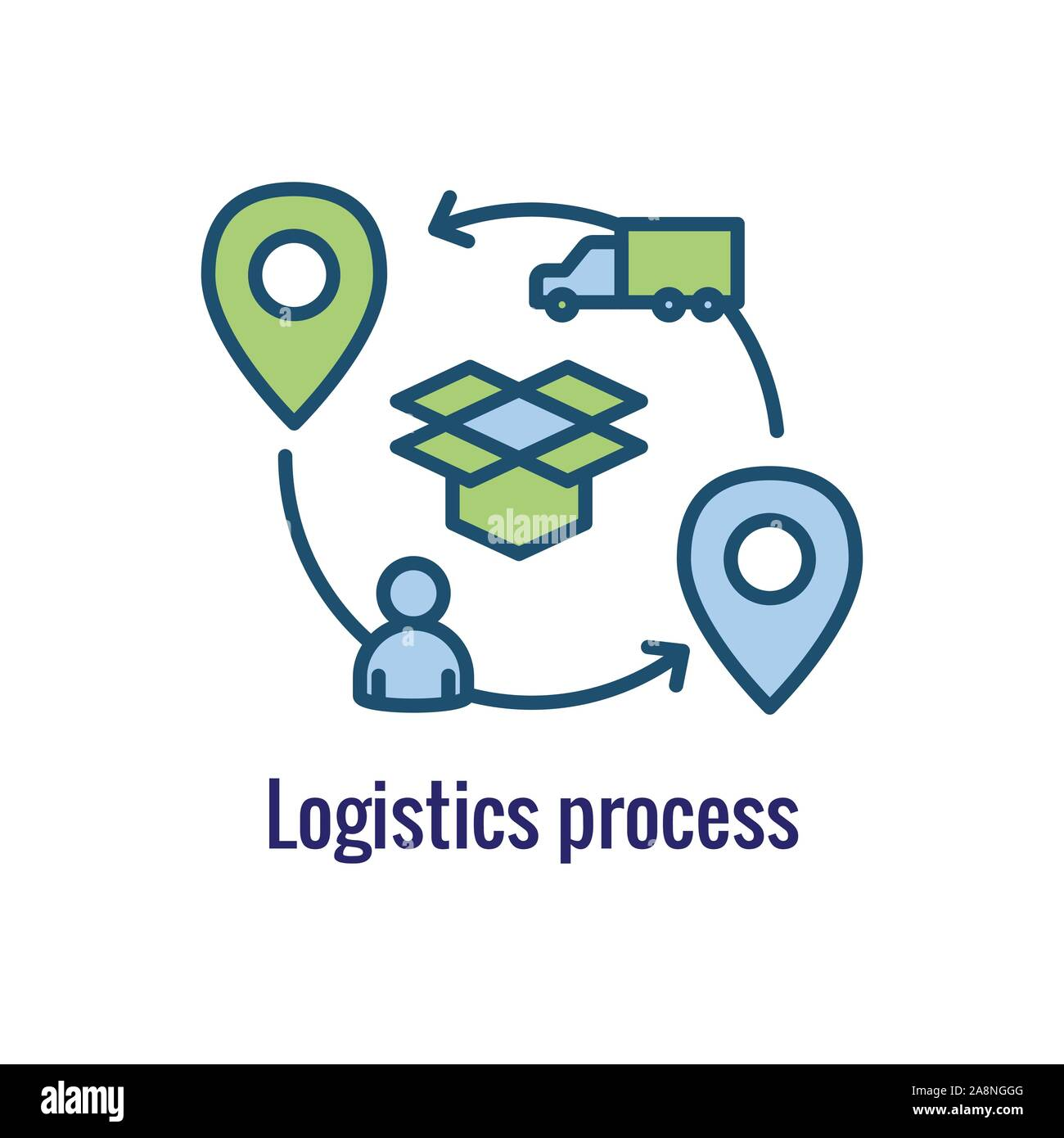 Logistics icon showing movement from 1 place to the next Stock Vector