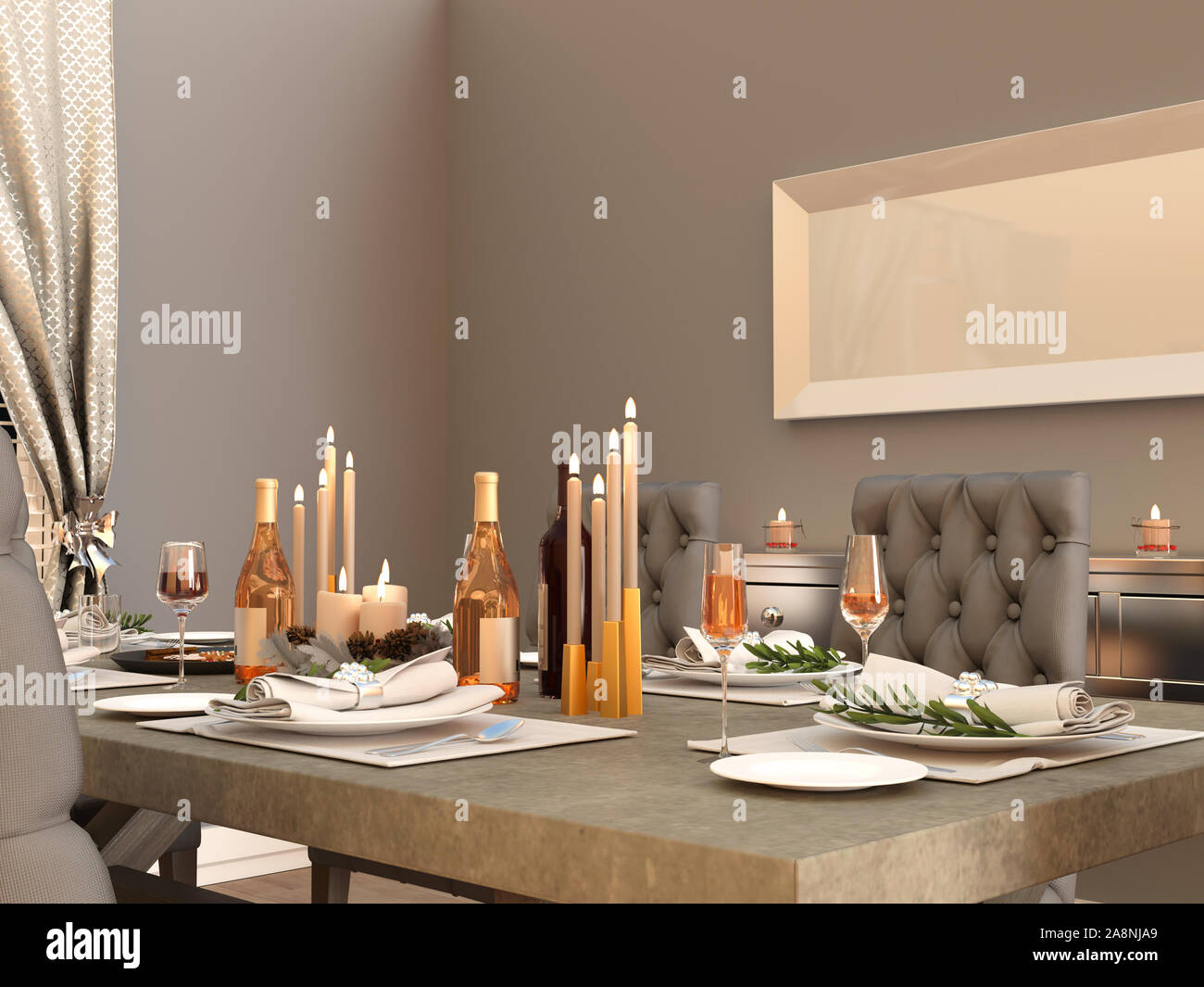 Dining Room Table With Festive Decorations For Thanksgiving