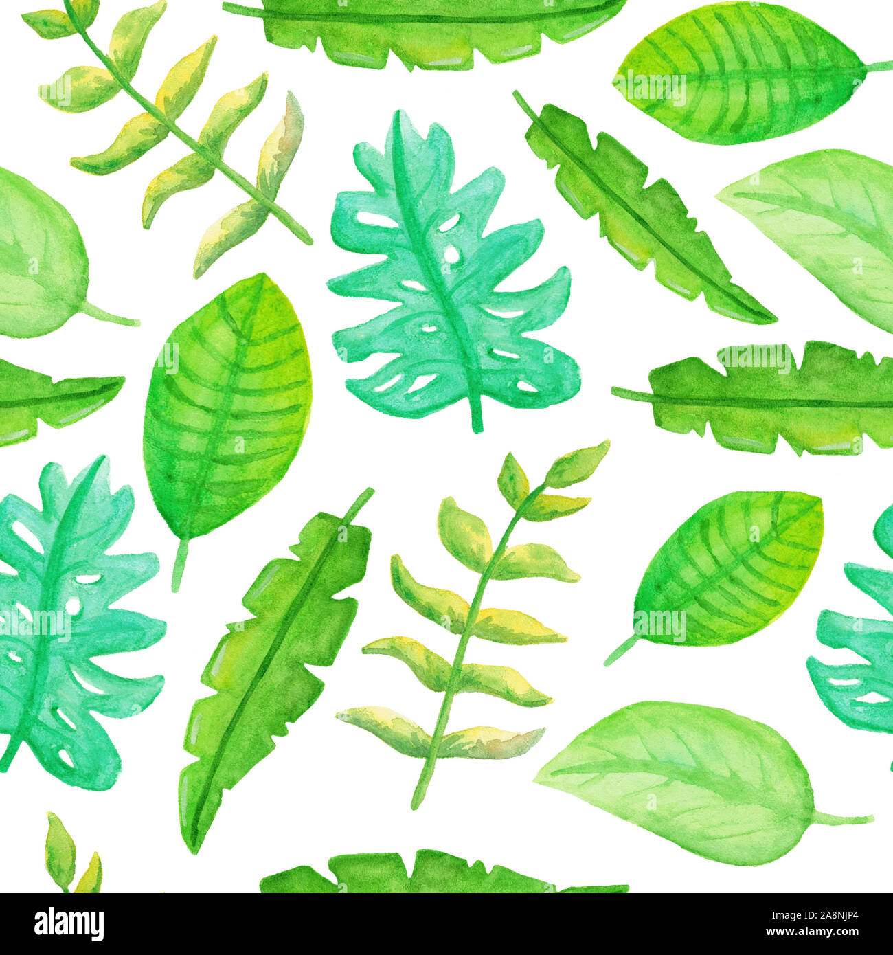 Seamless Pattern With Cute Watercolor Tropical Leaves Stock Photo Alamy