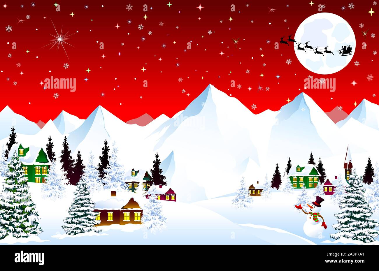 Winter Rural Landscape Christmas Eve Night Mountain Village Snow Forest Mountains Shining Stars And Snowflakes In The Night Sky Santa On A Slei Stock Vector Image Art Alamy