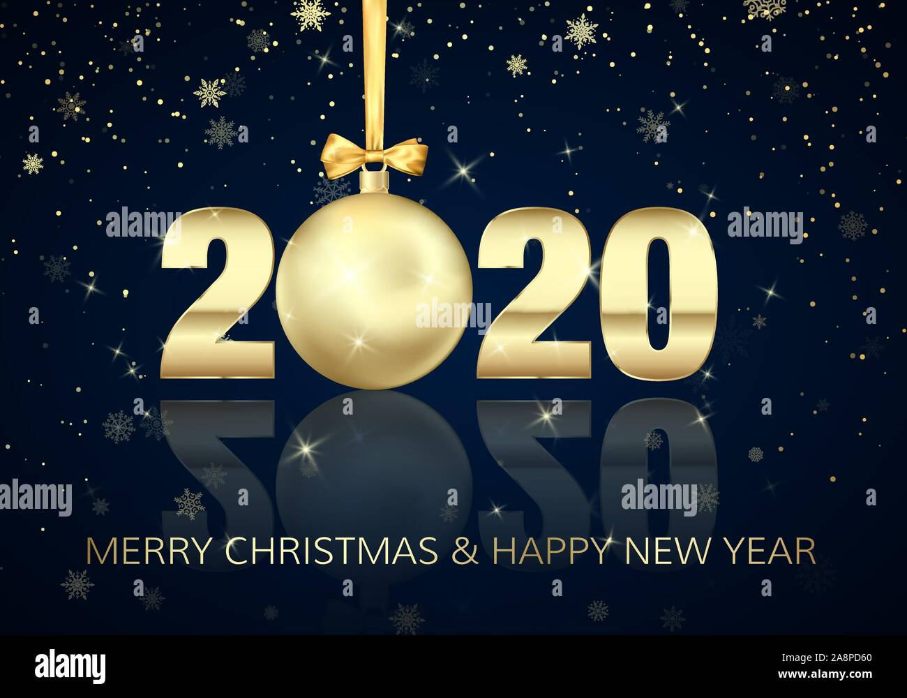 happy new year and merry christmas poster with greeting text golden christmas ball instead of zero in 2020 holiday decoration element for banner or stock vector image art alamy https www alamy com happy new year and merry christmas poster with greeting text golden christmas ball instead of zero in 2020 holiday decoration element for banner or image332407544 html