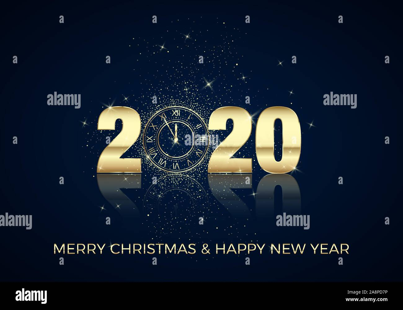 Happy New Year Greeting Card Golden Clock Instead Of Zero In 2020 Holiday Midnight Countdown Christmas Decoration Element For Banner Or Invitation Stock Vector Image Art Alamy