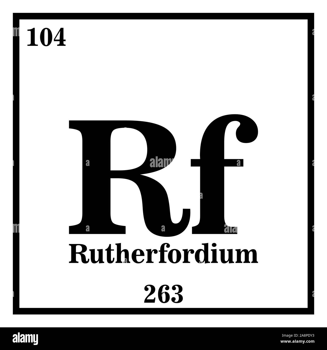 Rutherfordium Periodic Table of the Elements Vector illustration eps 10. Stock Vector