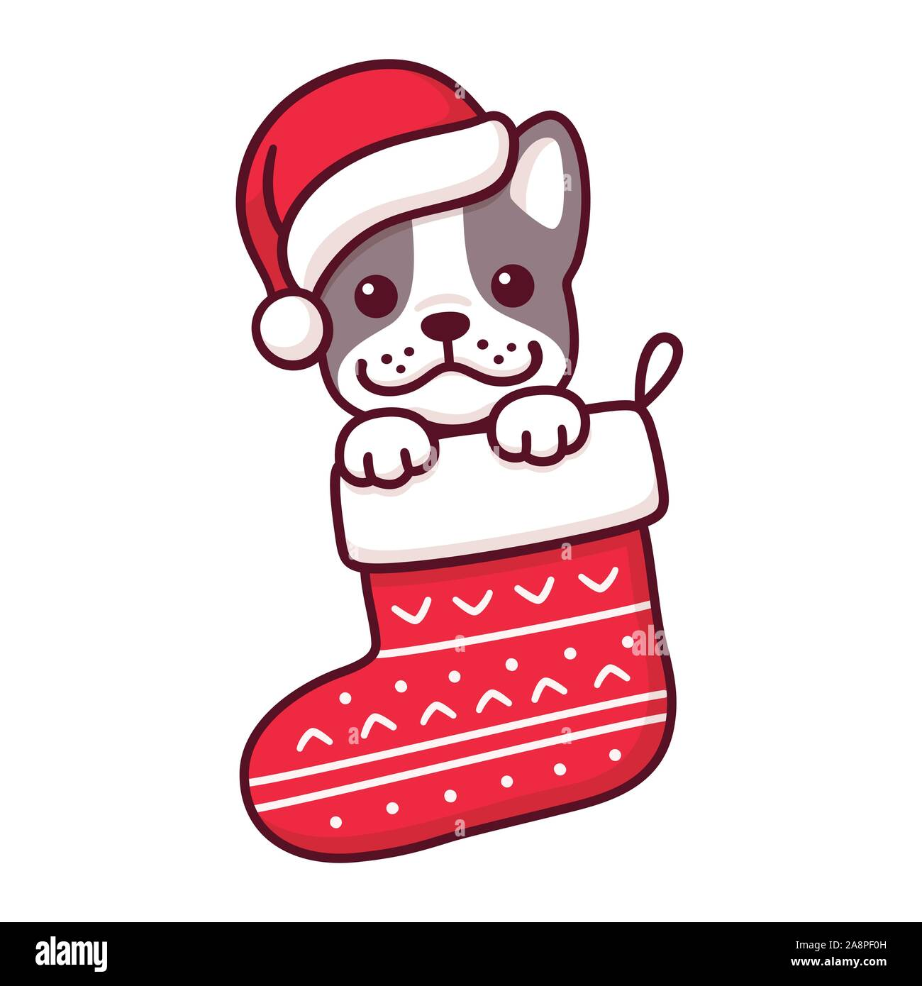 Cute Cartoon French Bulldog Puppy In Santa Claus Hat Inside Hanging Christmas Stocking Merry Christmas Greeting Card With Dog Drawing In A Red Sock Stock Vector Image Art Alamy