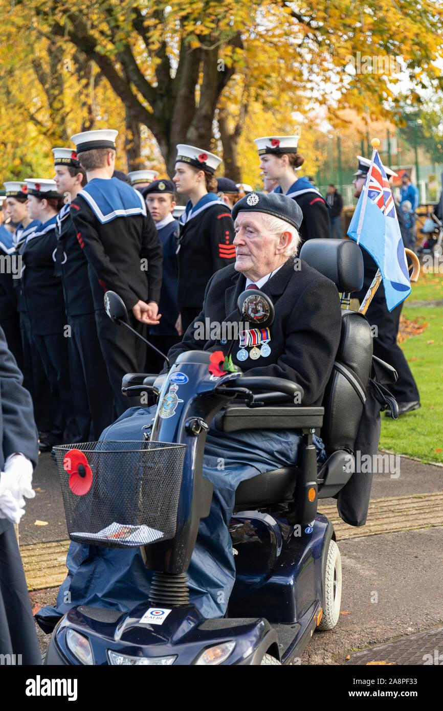 Trowbridge Royal British Legion Remembrance Sunday Parade, 10th November 2019, arrives at the War Memorial in Trowbridge Park, Wiltshire UK Stock Photo