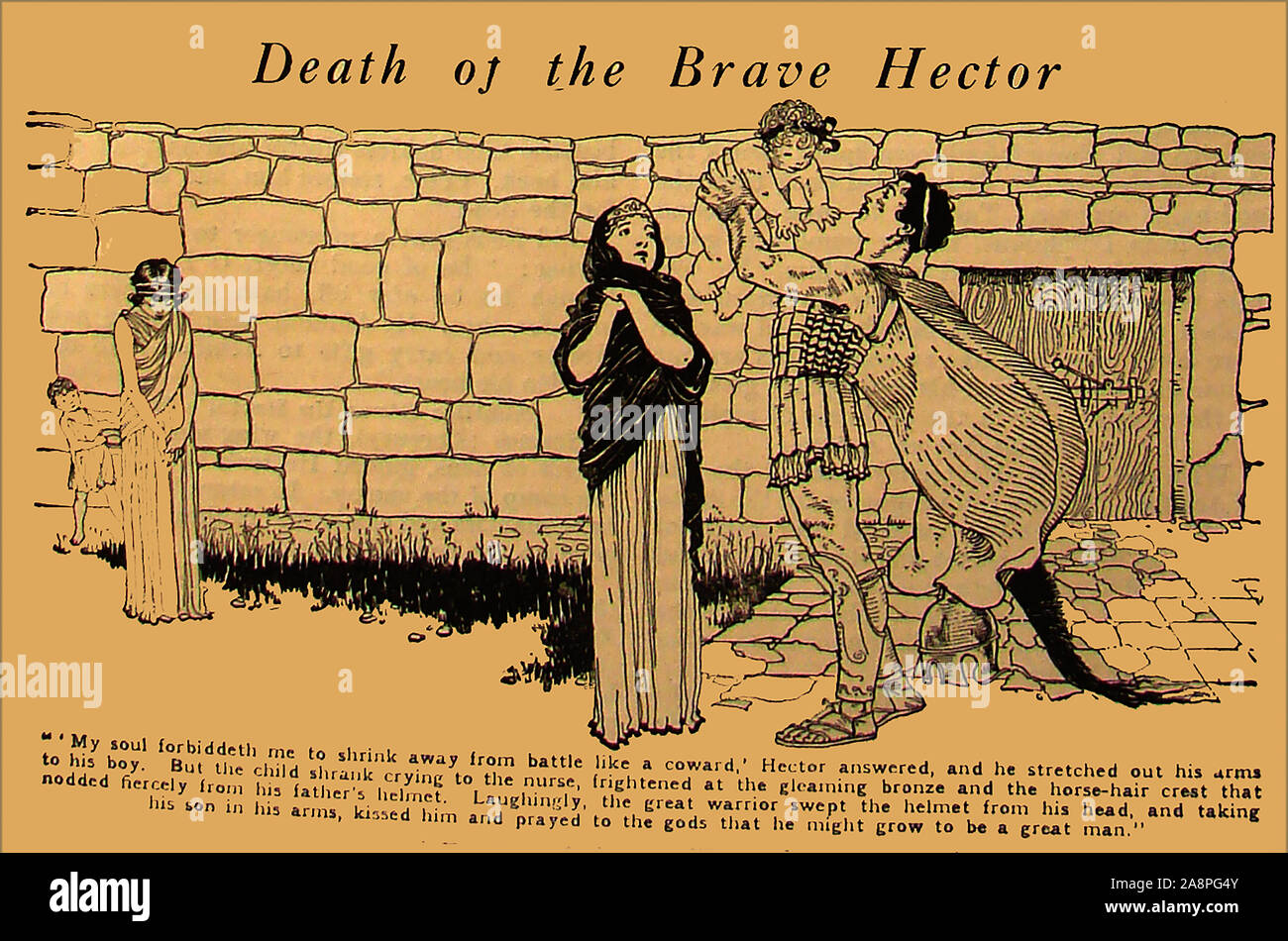 A vintage cartoon style illustration showing Hector the Greek and Roman mythological hero just before he died in battle. He was a Trojan prince and hero in the Trojan Wars. Traditionally he was   the first-born son of King Priam and Queen Hecuba,  a descendant of Dardanus and Tros, the founder of Troy and was married to Andromache, with whom he had an infant son, Scamandrius (whom the people of Troy called Astyanax) (shown in the illustration). Stock Photo